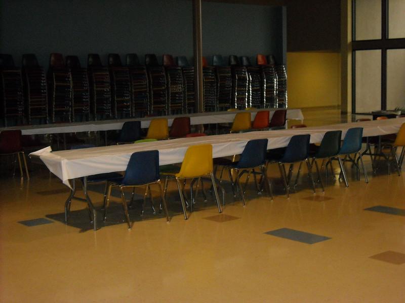 Area prepared for sitting in the center