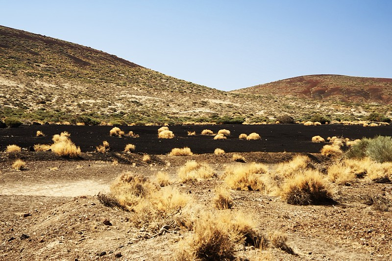 Pláň z černého písku nedaleko Volcán de Fasnia