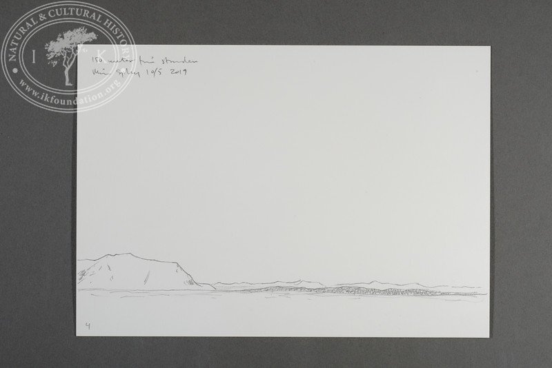"Prins Karls Forland and Midtøya drawn from the zodiac at 150 meters west of the beach at Levinhamna | 10.5.2019 | ""I want to convey what I see with immediacy and simplicity to make the viewer feel present on the Arctic scene."" 