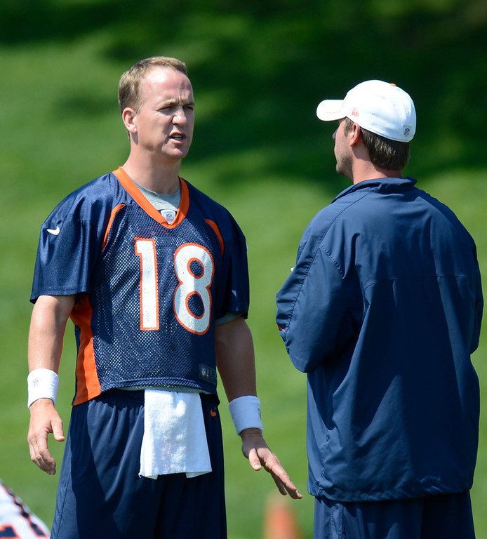 . Denver Broncos quarterback Peyton Manning (18) talks with coach Adam Gase during mini camp Thursday, June 14, 2012 at Dove Valley. John Leyba, The Denver Post