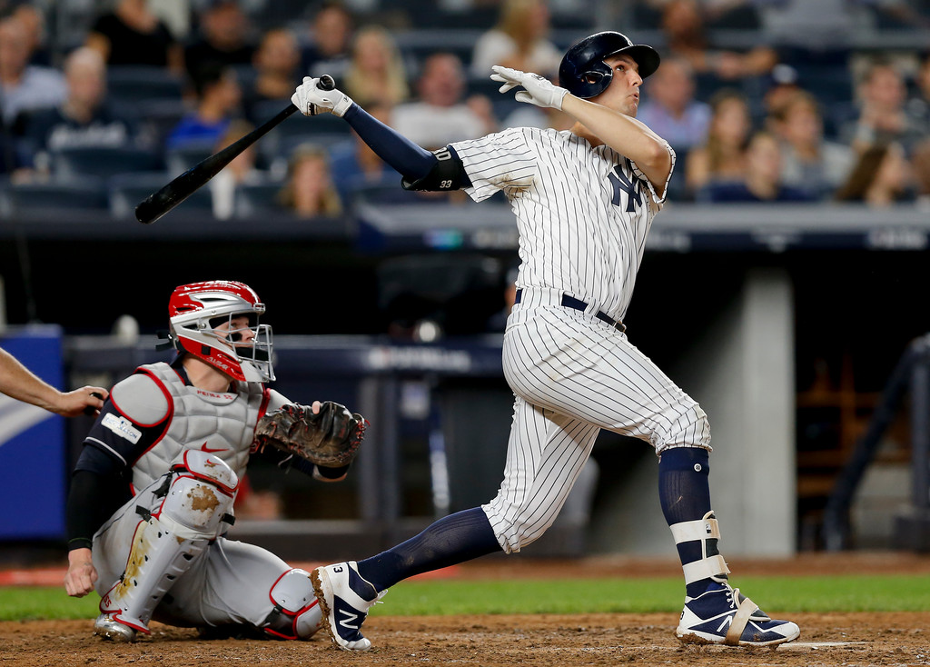 . New York Yankees\' Greg Bird connects for a solo home run against the Cleveland Indians during the seventh inning in Game 3 of baseball\'s American League Division Series, Sunday, Oct. 8, 2017, in New York. (AP Photo/Kathy Willens)