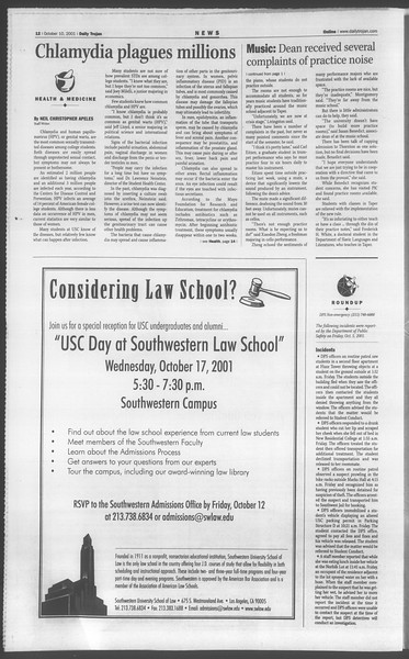 Daily Trojan, Vol. 144, No. 30, October 10, 2001