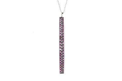 Art Deco 14K, Silver, Ruby and Diamond Pendant