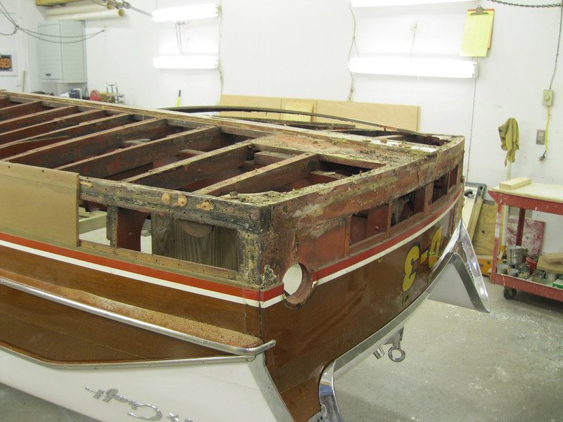 Rear starboard view of bottom and bottom transom plank removed.