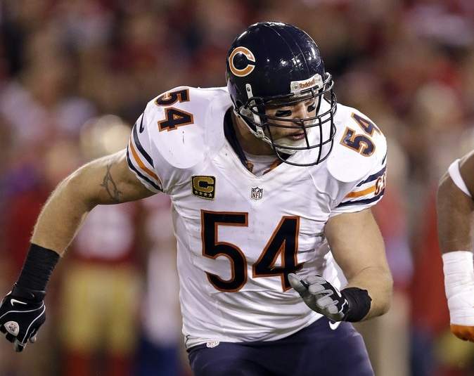 ". <p>10. (tie) BRIAN URLACHER  <p>Some of the Bears� injuries? Fake. Audience watching him on Fox Sports 1? Infinitesimal. (previous ranking: unranked) <p><b><a href=\'http://www.nfl.com/news/story/0ap1000000238005/article/brian-urlacher-bears-faked-injuries-to-slow-offenses\' target=""_blank\""> HUH?</a></b> <p>     (AP Photo/Marcio Jose Sanchez)"