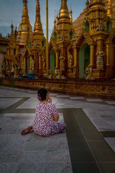 Prayer at the Shwedagon (Golden) Pagoda