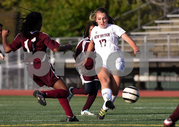 10/13/17 Wesley Bunnell | Staff Bulkeley vs New Britain girls soccer at Veterans' Stadium on Friday afternoon. Stephanie Camacho (17) .