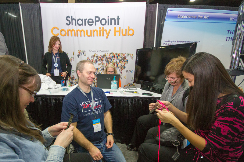 Attendees make survival bracelets at the SharePoint Community Hub