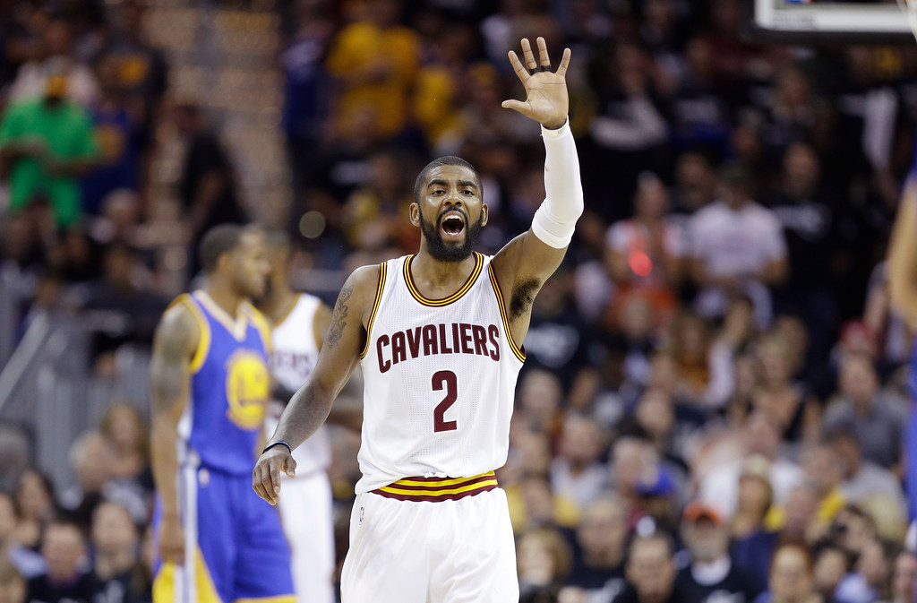 . Cleveland Cavaliers guard Kyrie Irving reacts during play against the Golden State Warriors in the first half of Game 4 of basketball\'s NBA Finals in Cleveland, Friday, June 9, 2017. (AP Photo/Tony Dejak)