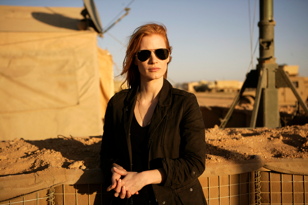 "Description of . This undated publicity film image provided by Columbia Pictures Industries, Inc. shows Jessica Chastain in""Zero Dark Thirty.\""  Chastain was nominated  for an Academy Award for best actress on Thursday, Jan. 10, 2013, for her role in the film.  The 85th Academy Awards will air live on Sunday, Feb. 24, 2013 on ABC.  (AP Photo/Columbia Pictures Industries, Inc., Jonathan Olley, File)"