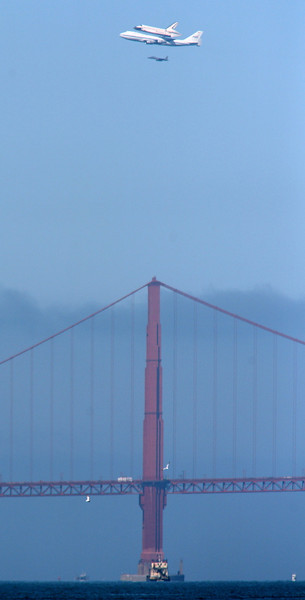 Endeavour flies over the Golden Gate Bridge in San Francisco on Sept. 21, 2012.