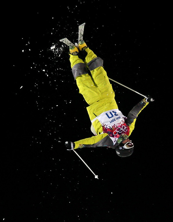 . Pavel Kolmakov of Kazakhstan in action during  the Freestyle Skiing Men\'s Moguls Qualification 1 at the Sochi 2014 Olympic Games, Krasnaya Polyana, Russia, 10 February 2014.  EPA/SERGEY ILNITSKY