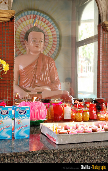 MY told me that the milk is offered to Buddha. They said as long as you are sincere, usually your dream will come true. :) (and of course with you own hard work as well).