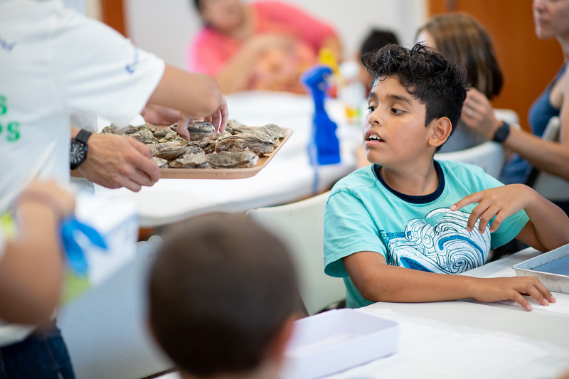 HRI (Harte Research Institute) research assistants host an Oyster Workshop at the Oso Bay Wetlands Preserve Learning Center.