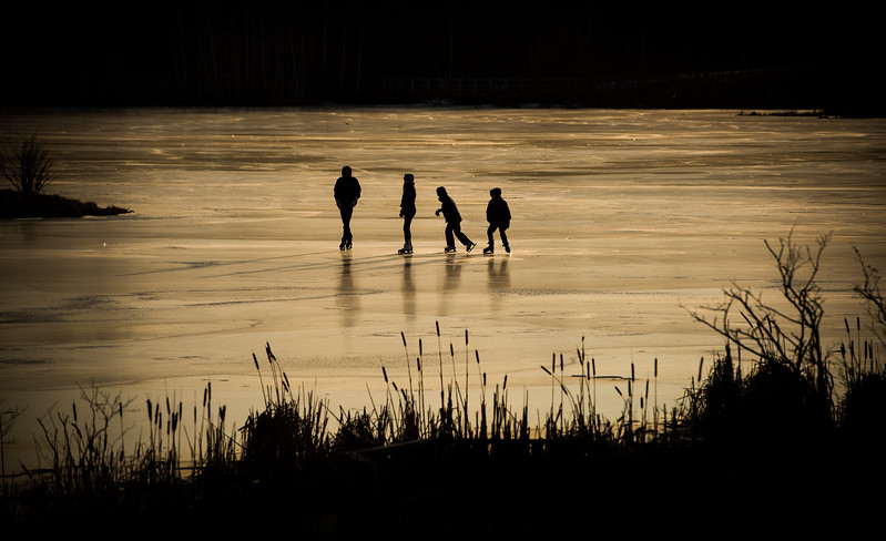 Skating on a pond in Sackville, NB