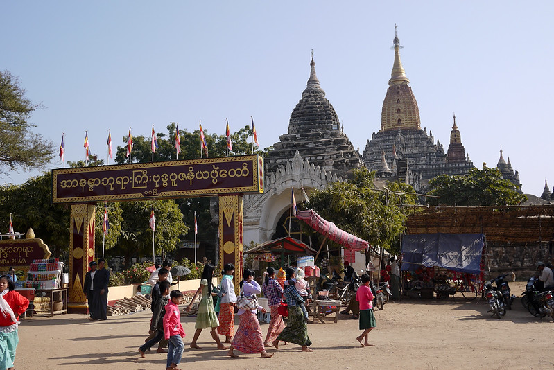 The bustling tourists and locals mixing near Ananda Paya temple in Bagan, Burma (Myanmar)
