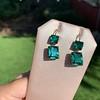 Georgian Double Drop Emerald Paste Earrings 17