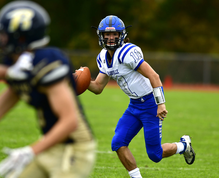10/6/2018 Mike Orazzi | Staff Plainville's Frank Griffin (11) during Saturday's football game in Hebron.