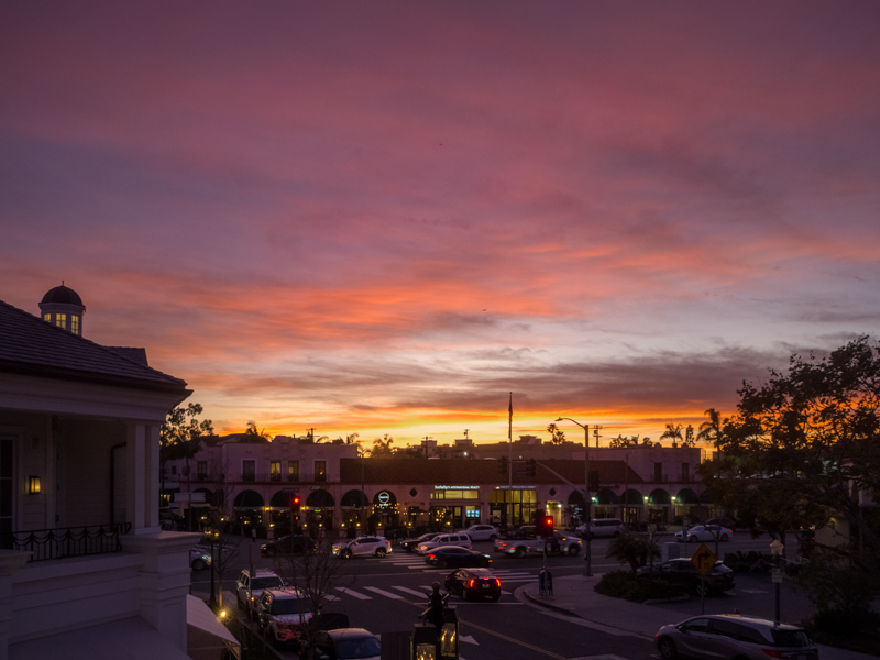 """January 31- Sunset over Palisades Village and """"Pink Building"""".jpg"""