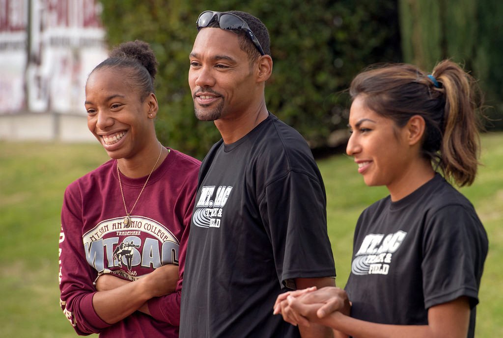 . Athletes from left:  Olympic high-jumpers Brigetta Barrett and Jaime Nieto with world class distance runner Brenda Martinez attend a press conference announcing the renovation of Mt. SAC\'s Hilmer Lodge Stadium at the Walnut campus Dec. 2, 2013.  The renovation would qualify the stadium to apply for consideration as the track and field venue of the 2020 Olympics.    (Staff photo by Leo Jarzomb/San Gabriel Valley Tribune)