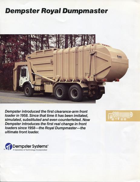 Dempster Royal Dumpmaster Sales brochure ca.1985
