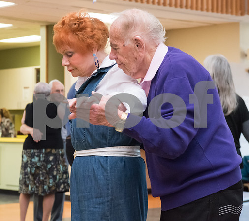 02/21/18 Wesley Bunnell | Staff Elsie Scempinski and Bob Snediker dance to a live band at the New Britain Senior Center on Wednesday afternoon.