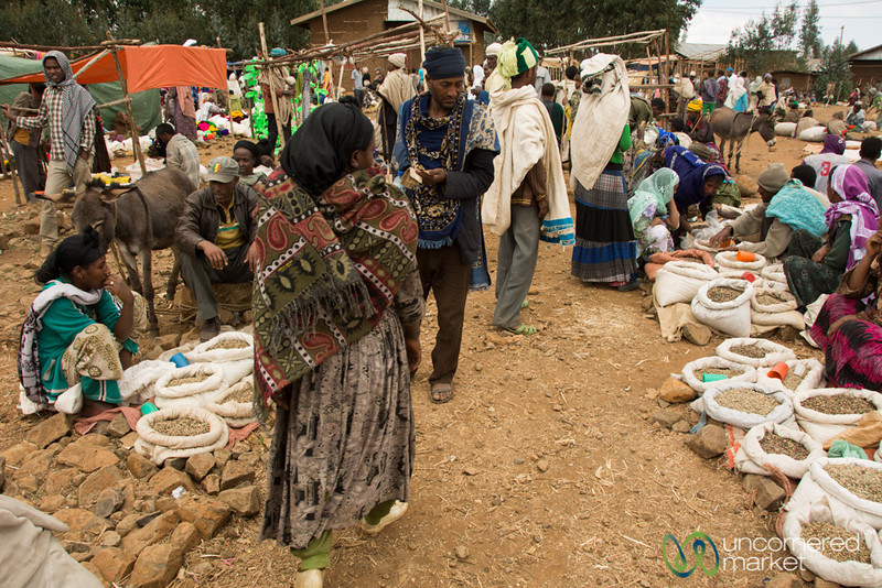 Green Coffee Beans for Sale at Market - Lalibela, Ethiopia