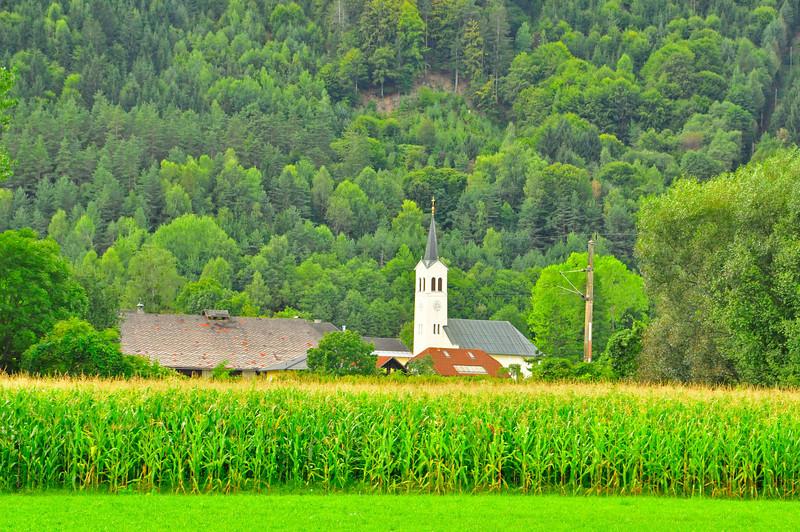 cornfields border each town...near Villach, Austria