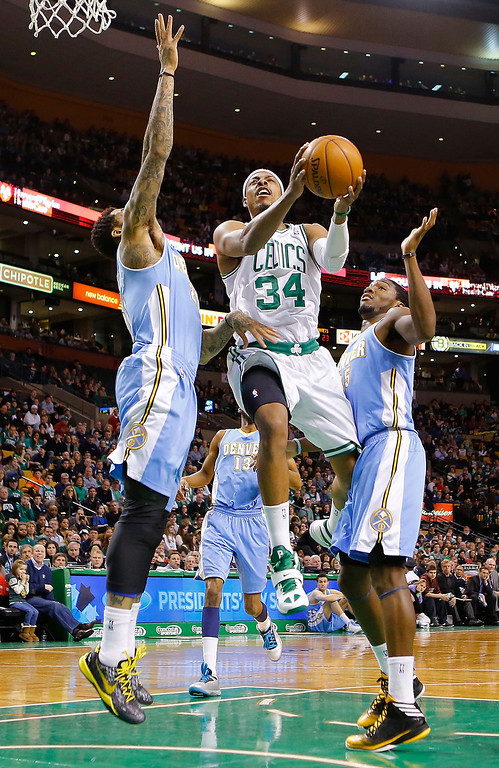 . BOSTON, MA - FEBRUARY 10: Paul Pierce #34 of the Boston Celtics drives to the basket against the Denver Nuggets during the game on February 10, 2013 at TD Garden in Boston, Massachusetts.  (Photo by Jared Wickerham/Getty Images)