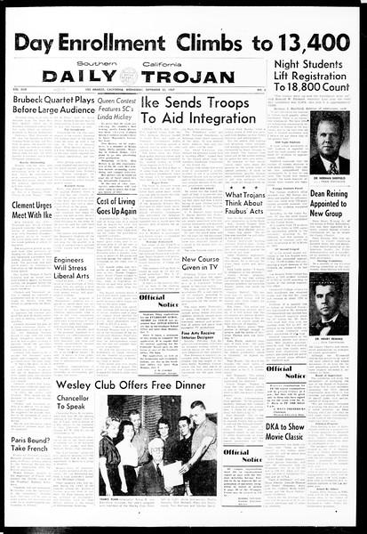 Daily Trojan, Vol. 49, No. 2, September 25, 1957