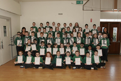 Newry Lions Club Sponsored Swim certificates presented by Mr Tony O' Hare to St Ronans PS pupils, Primary 6 classes, Teachers,Mrs Thornton, Mrs Quinn. 07W8N11