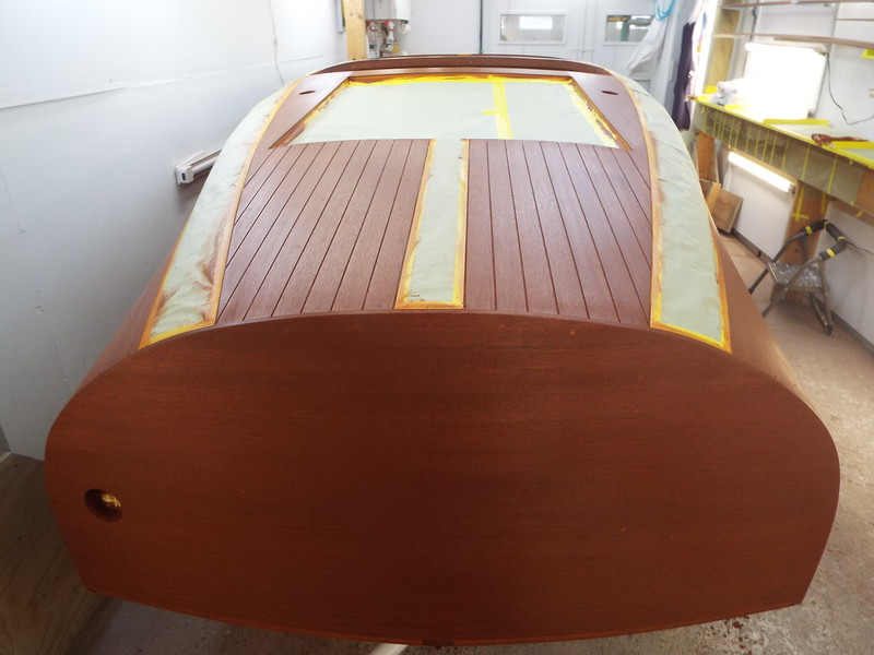 Rear view of the second stain color applied.
