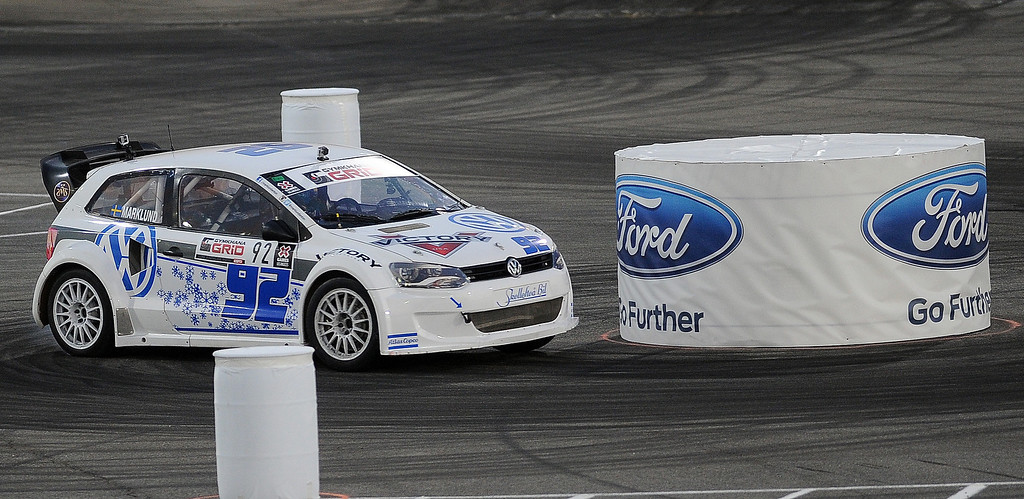 . Anton Marklund races during the X Games Gymkhana Grid finals at Irwindale Speedway on Saturday, Aug. 3, 2013 in Irwindale, Calif.   (Keith Birmingham/Pasadena Star-News)