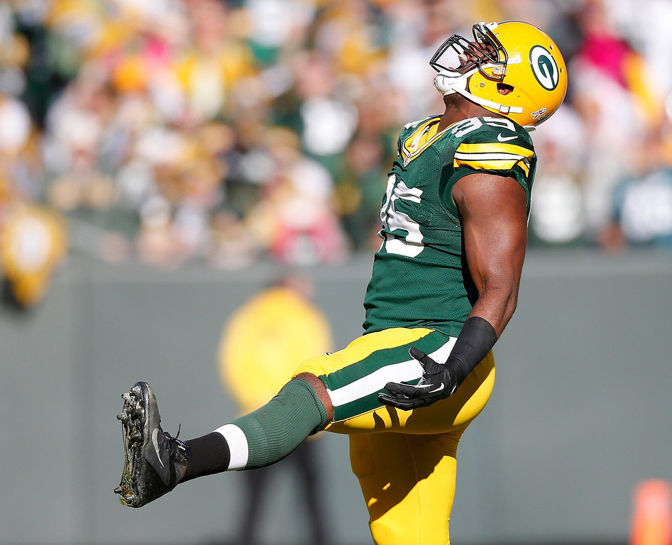 . Datone Jones #95 of the Green Bay Packers reacts after a first quarter sack while playing the Philadelphia Eagles at Lambeau Field on November 10, 2013 in Green Bay, Wisconsin. (Photo by Gregory Shamus/Getty Images)