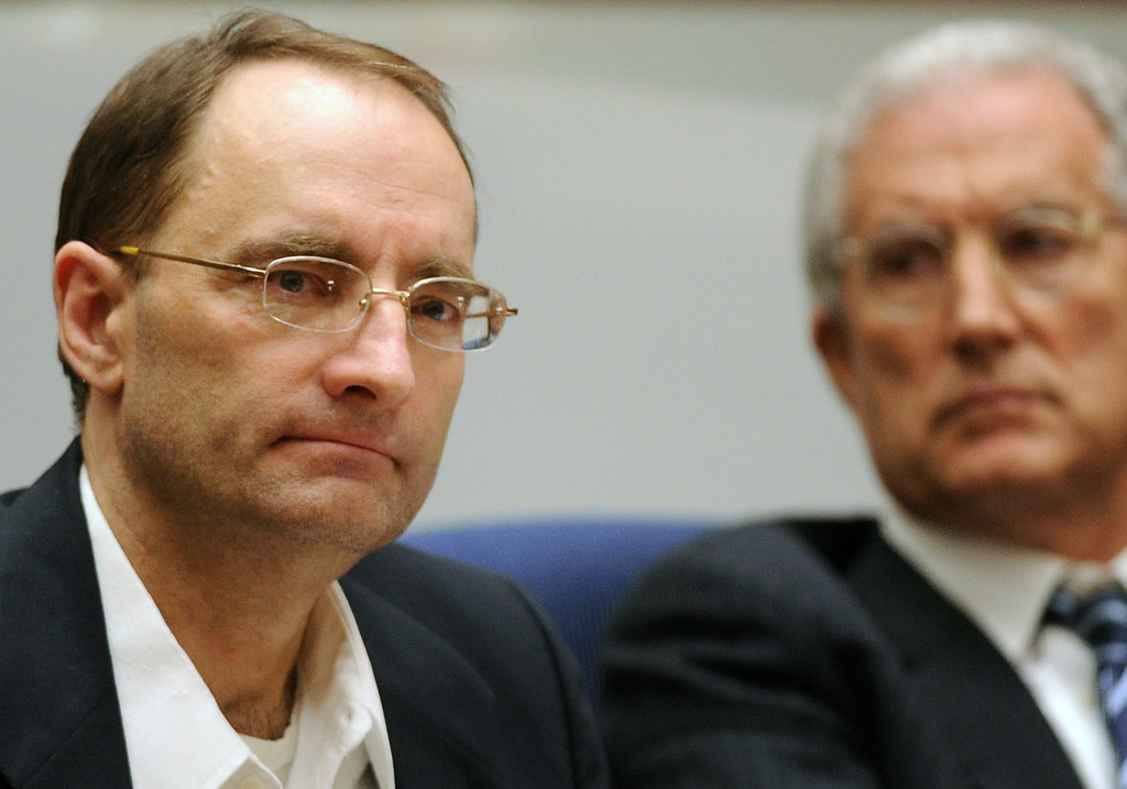 ". The murder trial of Christian Gerhartsreiter, 52,  known as ""Clark\"" Rockefeller, second day at trial at Clara Shortridge Fortz Criminal Justice Center in Los Angeles on Tuesday, March 19, 2013.  Gerhartsreiter is a German immigrant who masqueraded as a member of the Rockefeller family. He is charged with murder of John Sohus, 27, whose bones were unearthed from the backyard of the home in San Marino, California, in 1985.  Sohus\' wife, Linda, has never been found. (SGVN/Photo by Walt Mancini/LANG)"