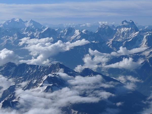 Matterhorn of the Caucasus - Ushba (4.710m) on horizon.