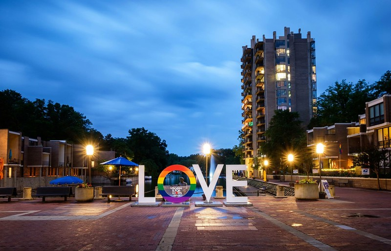 Virginia Is for Lovers pride sign on Lake Anne Plaza