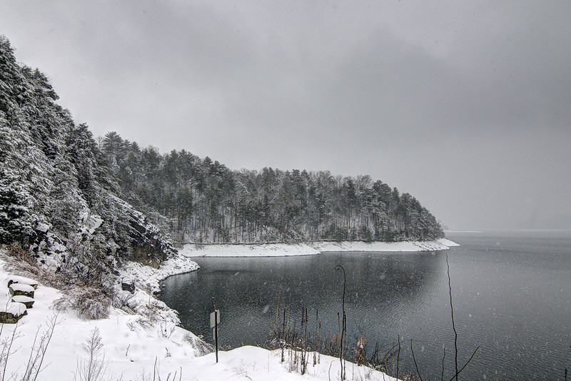 Heavy snow falls on South Holston Lake in Bristol, TN on Thursday, February 13, 2014. Copyright 2014 Jason Barnette