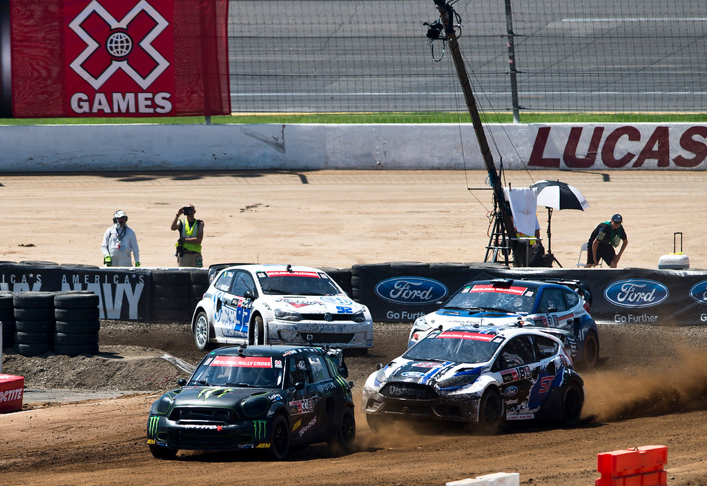 . Drivers compete in the Ford RallyCross SuperCar final during X Games Los Angeles at Irwindale Event Center on Sunday, August 4, 2013. Toomas Heikkinen won gold.  (SGVN/Staff photo by Watchara Phomicinda)