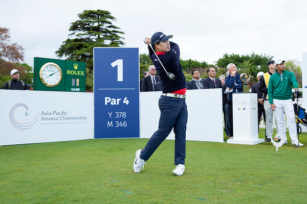 Jang Seung-bo from Korea hitting off the 1st tee on Day 1 of competition in the Asia-Pacific Amateur Championship tournament 2017 held at Royal Wellington Golf Club, in Heretaunga, Upper Hutt, New Zealand from 26 - 29 October 2017. Copyright John Mathews 2017.   www.megasportmedia.co.nz
