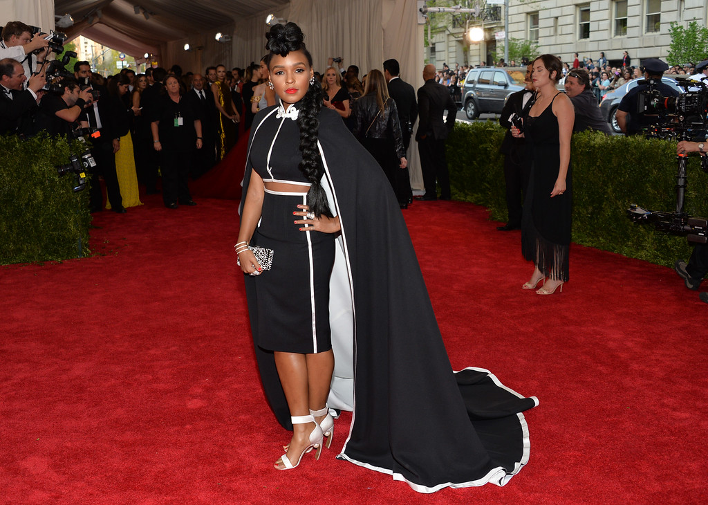 """. Janelle Monae arrives at The Metropolitan Museum of Art\'s Costume Institute benefit gala celebrating \""""China: Through the Looking Glass\"""" on Monday, May 4, 2015, in New York. (Photo by Evan Agostini/Invision/AP)"""