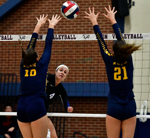 11/1/2018 Mike Orazzi | Staff Bristol Eastern's Olivia Beaudoin (4) during the CCC Volleyball Tournament at Avon High School Thursday night.