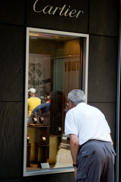 Senior man looking at a Cartier shop window, Verona, Veneto, Italy