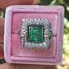 1.60ctw Emerald and Diamond Cocktail Ring 2