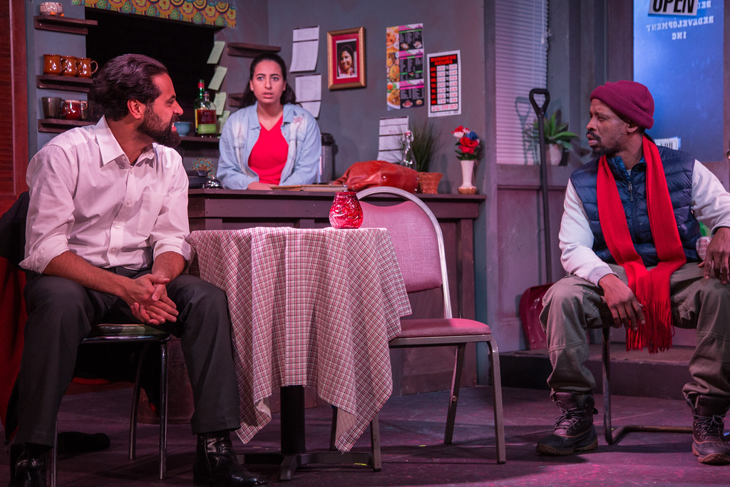 . Ammen T. Suleiman, left, Natalie El Dabh and LaShawn Little perform in the Karamu House production of �The Lake Effect.� The show continues through Nov. 26. For more information, visit karamuhouse.org. (Michelle Berki)
