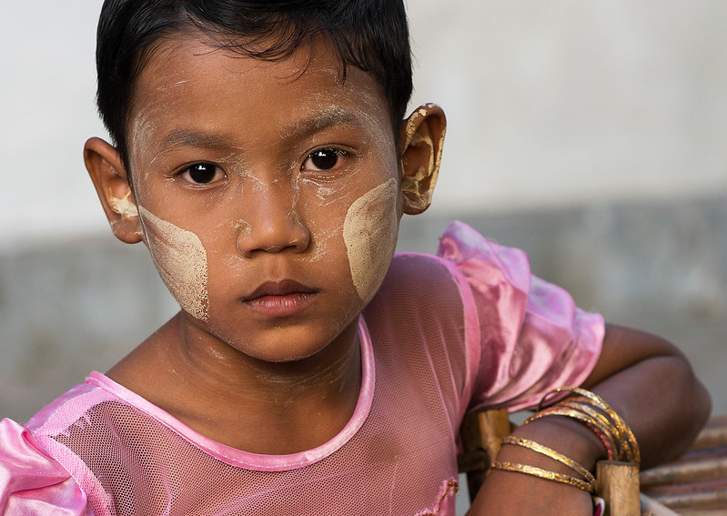 In Myanmar/Burma, people use thanaka on their cheeks to stay beautiful and to protect against the powerful sun.  Mandalay, Myanmar, 2017