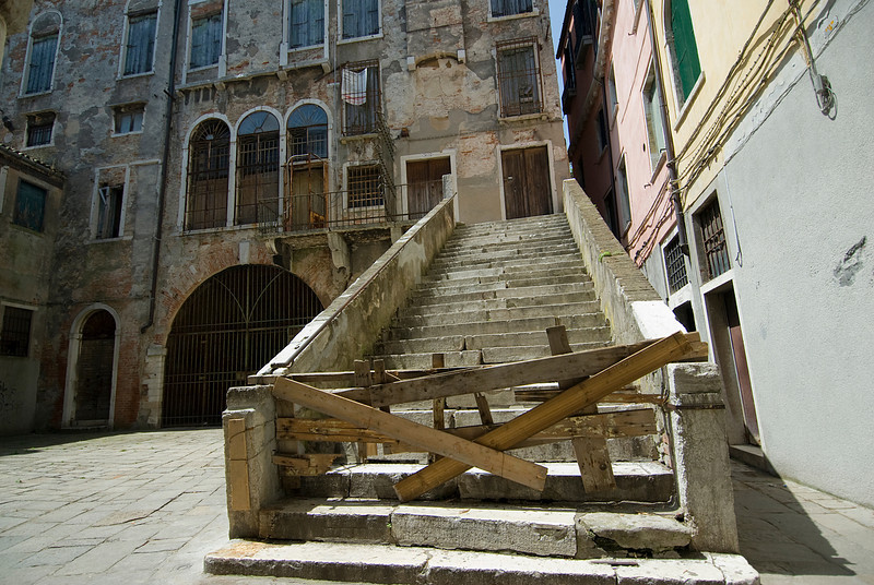 Old building stairway in Venice, Italy