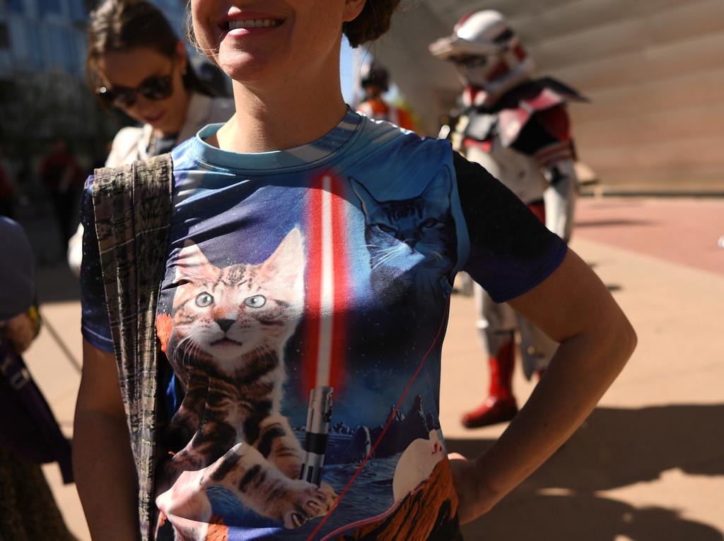 . Megan Royer rocket her cat Star Wars shirt outside the Denver Art Museum, May 04, 2016. (Photo by RJ Sangosti/The Denver Post)