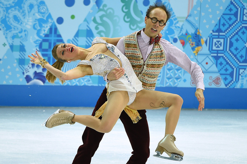 . Germany\'s Nelli Zhiganshina and Germany\'s Alexander Gazsi perform in the Figure Skating Ice Dance Short Dance at the Iceberg Skating Palace during the Sochi Winter Olympics on February 16, 2014.    JUNG YEON-JE/AFP/Getty Images
