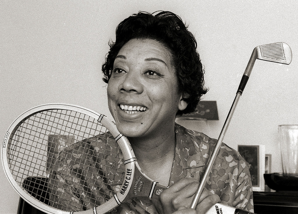 . Althea Gibson  in her East Orange, N.J. home in 1968, was a sports pioneer who broke the color barrier in tennis in the 1950s as the first black woman to win Wimbledon and U.S. national titles. (AP Photo/Marty Lederhandler)